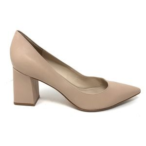 Marc Fisher Sz 9 Block Heeled Pumps Nude Leather